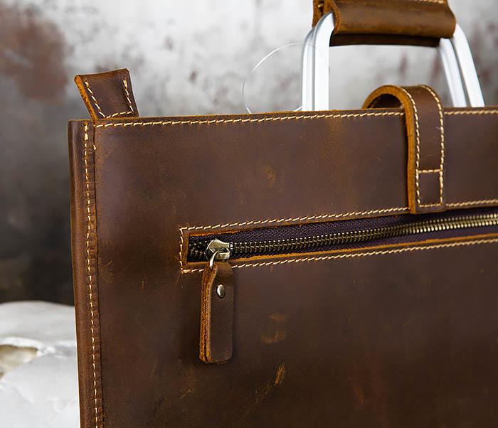 BAG440-2 Мужской портфель с ремнем на плечо из толстой кожи фото 04