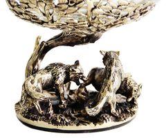Бокал для коньяка Волки в деревянной шкатулке