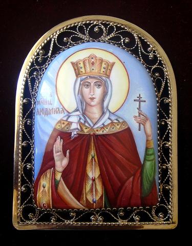 Икона финифть Святая мученица Людмила. Княгиня Чешская