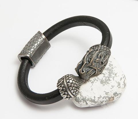 BD001-005 Мужской браслет Уроборос из кожи и бронзы