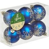 Новогоднее украшение набор из 6 шаров, d=6см, синий с сереб.рис., 16540