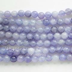 Бусина Кварц (имитация Аквамарина), шарик, цвет - серо-голубой, 6 мм, нить