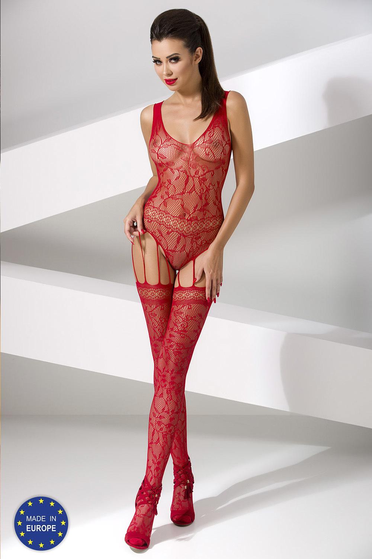 Красный боди-комбинезон сетка с оригинальными подвязками (Боди-комбинезоны)