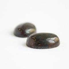 Кабошон овальный Яшма Брекчиевая коричнево-черная, 18х13х6 мм №6