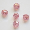Бусина с огранкой (цвет - перламутрово-розовый) 8х7 мм , 5 штук