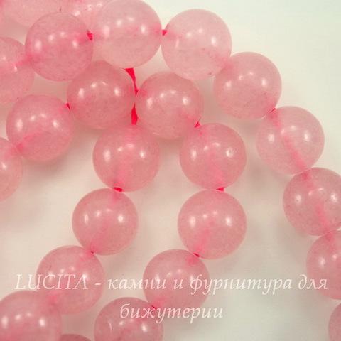Бусина Жадеит (тониров), шарик, цвет - розовый кварц, 10 мм, нить