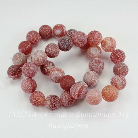 Бусина Агат цветочный матовый (тониров), шарик, цвет - коричневый, 12 мм, нить
