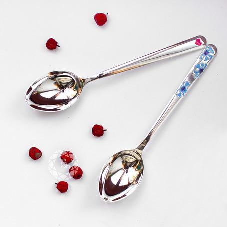 Ложка из серебра с сердечком красной эмалью