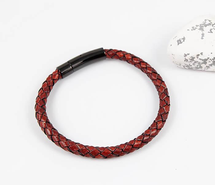 BM517-5 Мужской красный браслет из кожаного шнура фото 02