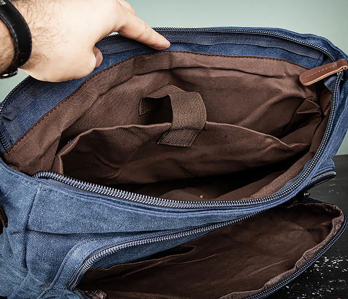 BAG504-3 Мужской портфель из плотного текстиля синего цвета фото 13