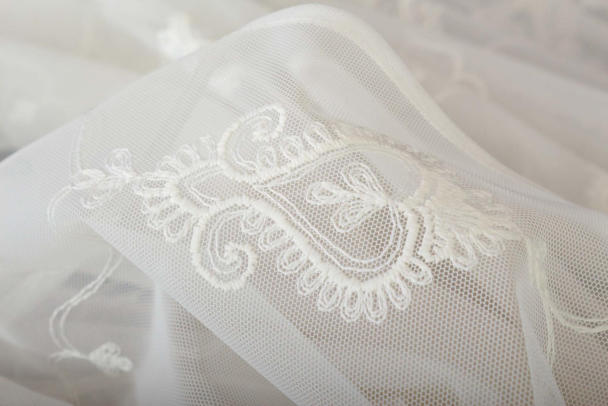 Микросетка с вышивкой Флоренция-2 (кремовый)