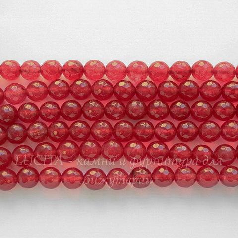 """Бусина Жадеит (тониров), шарик с огранкой, """"Клубничный джем"""", 10 мм, нить"""