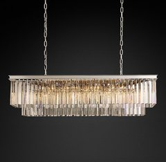 1920s Odeon Clear Glass Fringe Rectangular Chandelier 49