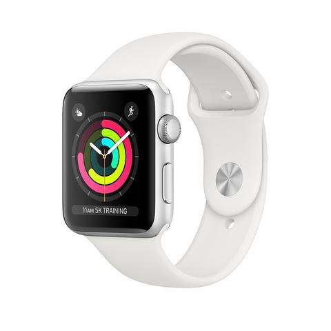 Apple Watch Series 3 GPS, 42 мм, алюминий серебристого цвета, спортивный ремешок белого цвета