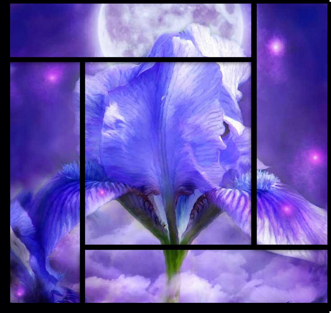 """Цветы Модульная картина """"Синие пламя"""" М742.png"""