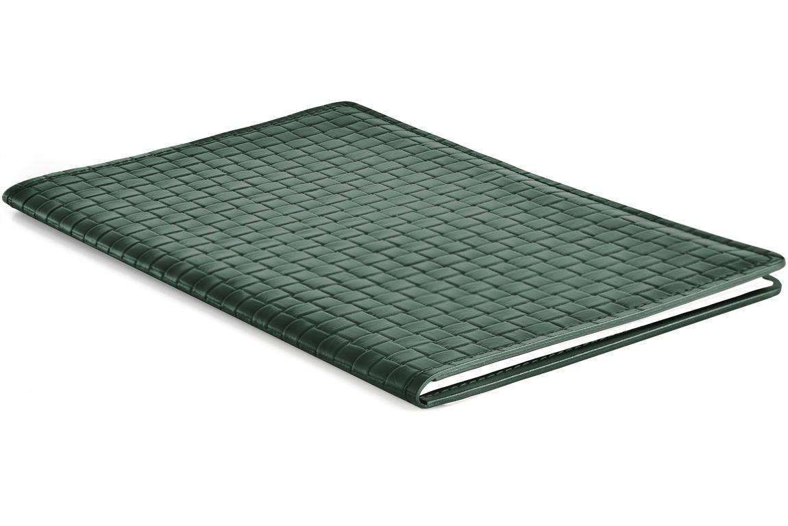 папка под блокнот из кожи зеленая переплетение