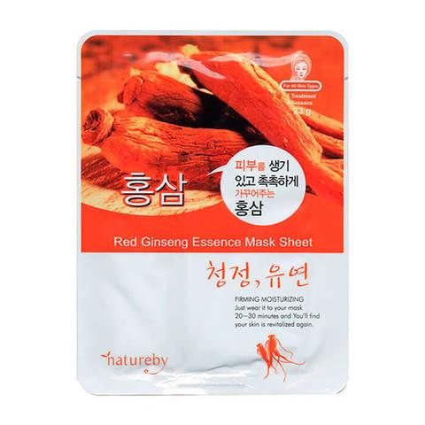 Natureby Тканевая питательная маска для лица с экстрактом красного женьшеня 23г