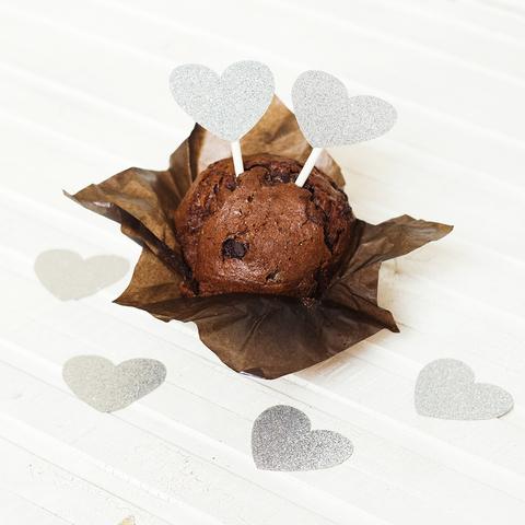 Украшение для пирожных Silver Hearts