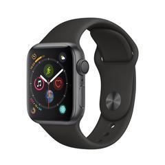 Часы смарт Apple Watch Серия 4, 40мм из алюминия цвета «серый космос», спортивный ремешок чёрного цвета