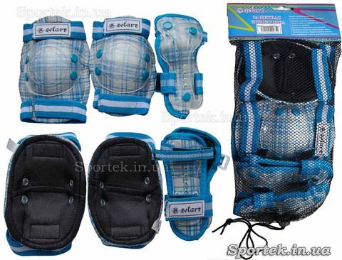 Защитная экипировка на резинках с липучками для катания детей на велосипедах, роликах, скейтбордах Zelard (Зелард)