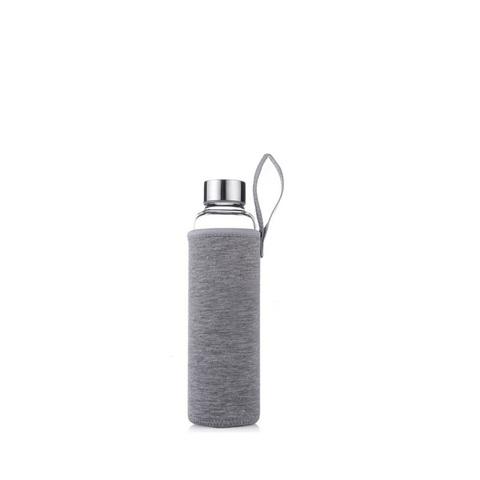Стеклянная бутылка в чехле, серый, 280 мл