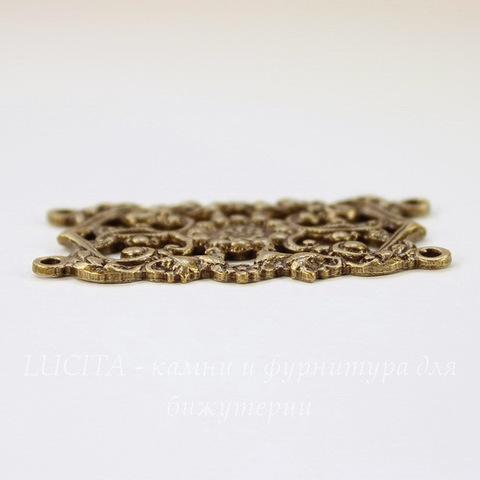 Винтажный декоративный элемент - коннектор (2-2) 42х26 мм (оксид латуни)