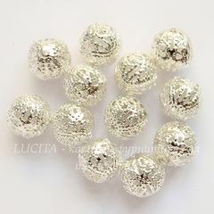 Бусина металлическая - шарик филигранный 10 мм (цвет - серебро), 10 штук