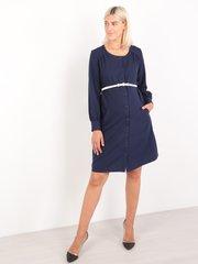 Евромама. Платье для беременных и кормящих с застежкой впереди, темно-синий