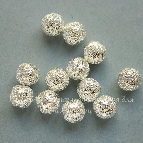 Бусина металлическая филигранная (цвет - серебро) 10 мм, 10 штук