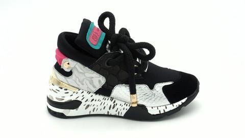 Кожаные комбинированные кроссовки на объемной шнуровке