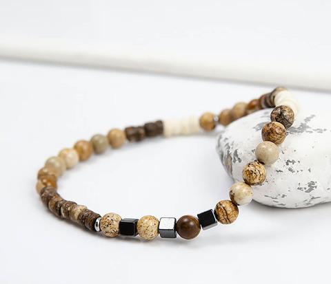 Браслет ручной работы из камней и дерева, коллекция ETHNO