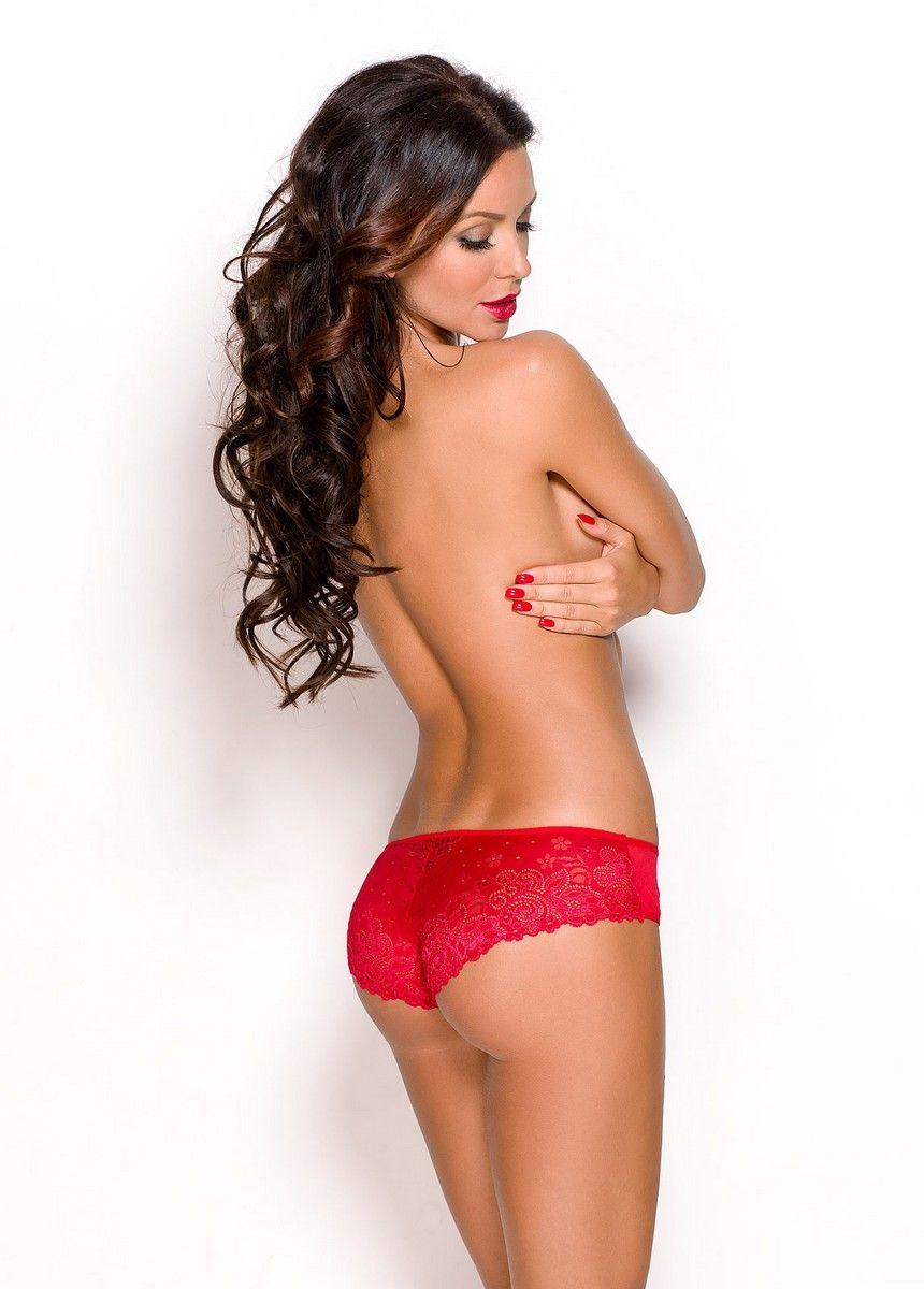 БОЛЬШИЕ размеры: Красные кружевные трусики-слипы Aprilla