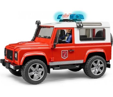 Bruder: Внедорожник Land Rover Defender Station Wagon — пожарная машина с фигуркой, 02-596 — Брудер