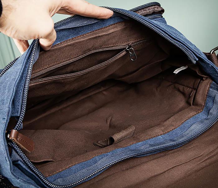 BAG504-3 Мужской портфель из плотного текстиля синего цвета фото 14