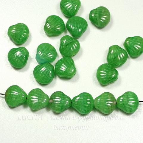 """Бусина """"Ракушка""""  (цвет - зеленый) 9х9 мм , 20 штук"""