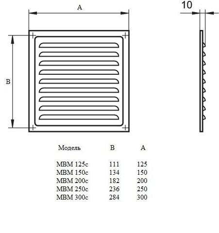 Решетка МВМ 250с оцинкованная