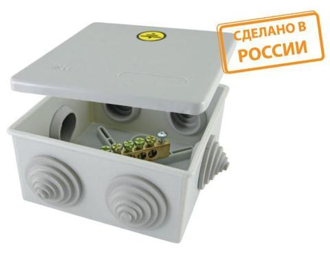 Коробка уравнивания потенциалов (КУП) ОП 100х100х50 мм, шина 6х9, 8 групп, IP55, инд. штрихкод, TDM