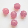 Бусина с огранкой (цвет - молочно-ярко-розовый) 8х7 мм , 5 штук
