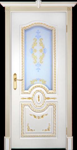 Дверь Prestigio Натоли, стекло матовое фотопечать, цвет  слоновая кость/патина золото, остекленная