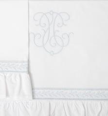 Бампер для детской кроватки 390х45 Bovi Вензель бело-голубой