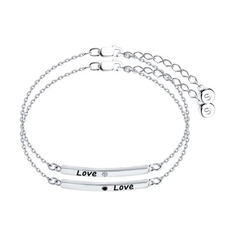 94050637 -Двойной браслет из серебра с эмалью и фианитами