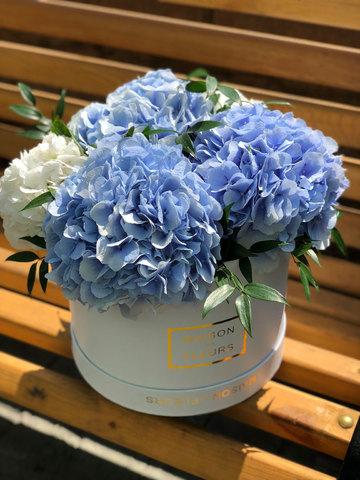 Голубые и белые гортензии в коробке Maison Des Fleurs