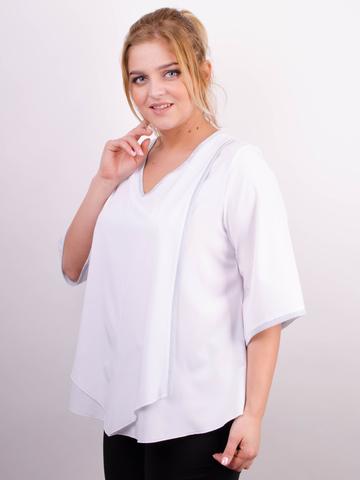 Марина. Весняна блуза великих розмірів. Білий.