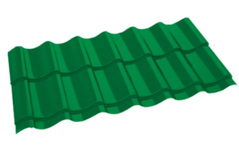 Металлочерепица Арарат Полиэстер RAL 6029 Зеленая мята 0,45 мм