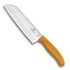 Нож Victorinox сантоку, лезвие 17 см рифленое, оранжевый, в картонном блистере