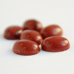 Кабошон овальный Яшма красная, 10х8х4 мм