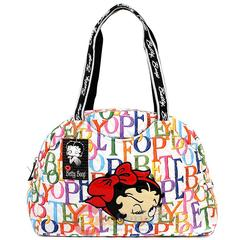 Betty Boop Quilted Diaper Bag Hand  with Pad - Rainbow Typo Whit