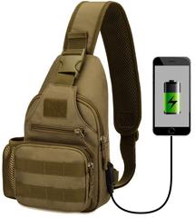 Тактический однолямочный рюкзак Protector Plus X-223 USB Койот/хаки