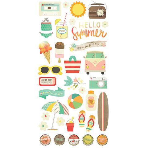 Чипборд на толстом самоклеящимся картоне  Summer Vibes by Simple Stories