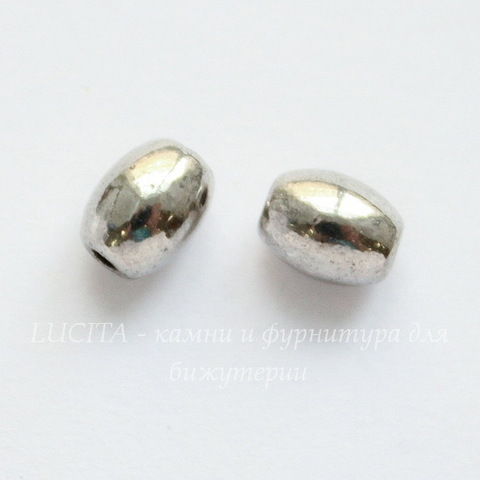 """Бусина металлическая """"Зернышко"""" (цвет - античное серебро) 5х4 мм , 10 штук"""